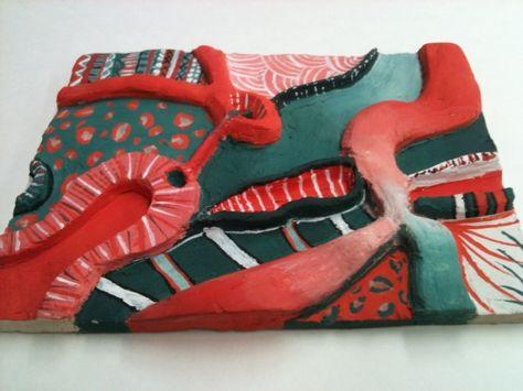 relief sculpture - complementaire kleuren
