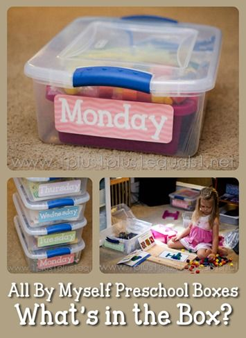 What's in the Preschool Box? AN HOUR TO SORT THROUGH THE BOX AND DO WAHTEVER THEY LIKE. I LIKE THE SENSORY BOX, TWEEZERS, SPOONS, CUPS,ETC. Good activity for when Olivia naps. Have an hr to do this if they don't want to nap. otherwise can lie down, etc. {Week 1} some great ideas on here!