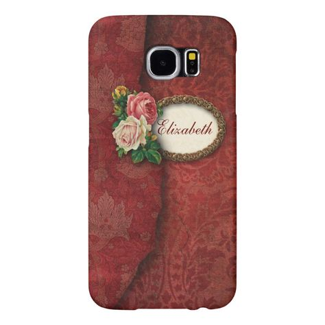 Vintage Personalized Torn Red Damask and Roses Samsung Galaxy S6 Case