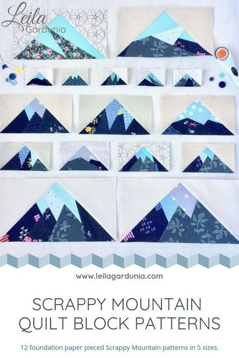 Scrappy Mountain foundation paper pieced patterns Fun fast quilt blocks that are perfect for outdoor lovers Use them as accents to pouches and bags or make a bunch into a. Boys Quilt Patterns, Paper Piecing Patterns, Pattern Blocks, Pattern Paper, Quilting Patterns, Quilting Ideas, Simple Quilt Pattern, Modern Quilt Patterns, Pattern Ideas