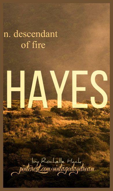 Baby Boy or Girl Name: Hayes. Meaning: Descendant of Fire. Origin: Irish; Gaelic. https://www.pinterest.com/vintagedaydream/baby-names/