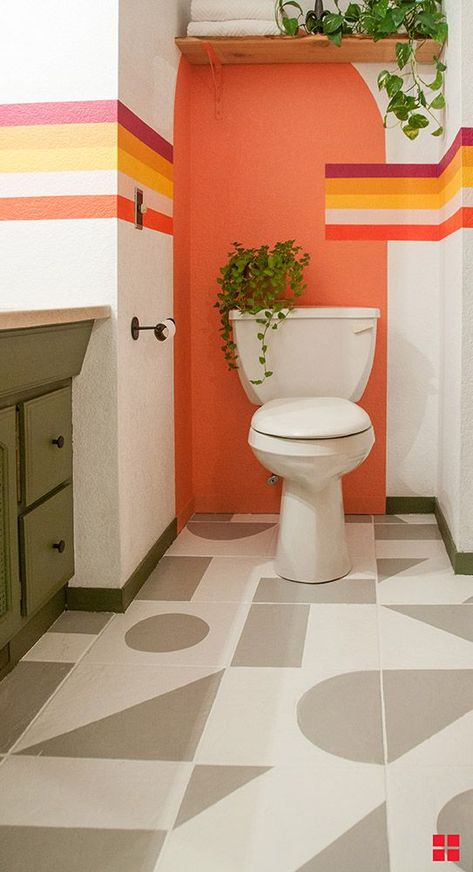 You'll find the best floor paint for your bathroom project with RockSolid HOME Interior Floor Paint. Try a geometric pattern as Rachael from Banyan Bridges has done in this tutorial. House Tiles, Bathroom Flooring, Bathroom Mural, Paint Bathroom, Bathroom Colors, Painted Floors, Eclectic Decor, Cheap Home Decor, House Colors