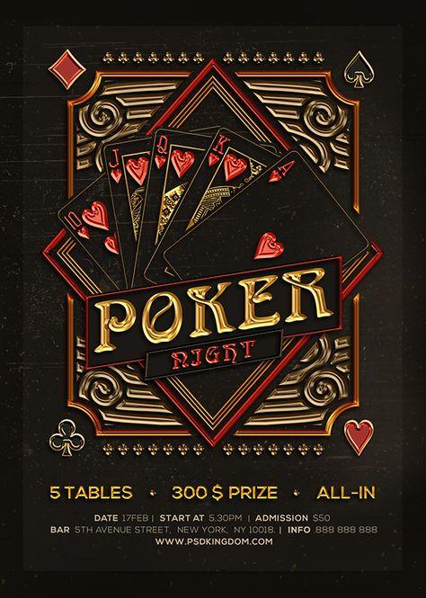 Poker Night / Black Jack Template Flyers 4x6