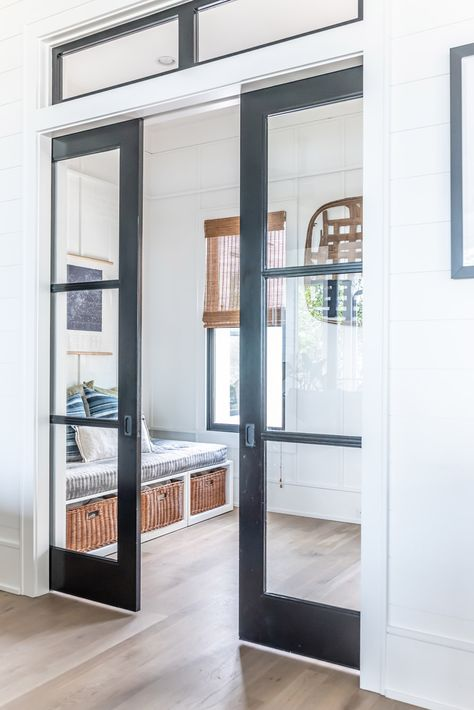 If door on office the do the pocket doors like these A Contemporary Southern Home in Charleston, SC Design Furniture, Plywood Furniture, Plywood Floors, Kid Furniture, Laminate Flooring, Home Office Design, House Design, Glass Pocket Doors, Glass Doors