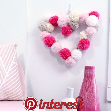 DIY Valentine's Day Pom Pom Heart Wreath - HGTV Handmade   DIY Valentine's D... - #day #Diy #Handmade #Heart #hgtv #pom #Valentines #Wreath