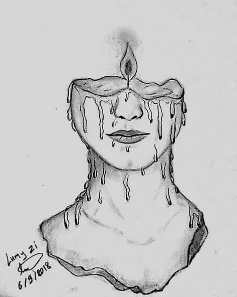 These cool girl drawing ideas make the perfect drawing references for artists. This picture shows a woman's face as a melting candle.