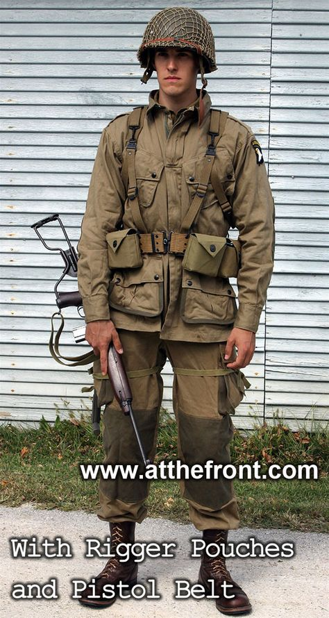 Top quality reproduction of the re-inforced WWII M1942 Jump Jacket, made with genuine Scovil snaps.
