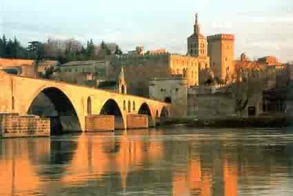 Avignon in France with the palace of the Popes & the famous bridge.