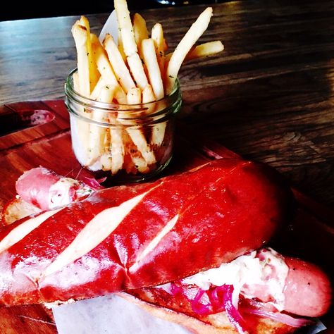 An Oktoberfest-themed Feature Menu At All JRG Public Houses from September 19 – October 2nd, 2016   OKTOBERFEST DOG Juicy all beef Nathan's hot dog in a warmed soft pretzel bun. Topped with dill chilli aioli, sauerkraut and pickled red onions, served with house salad or crispy seasoned fries