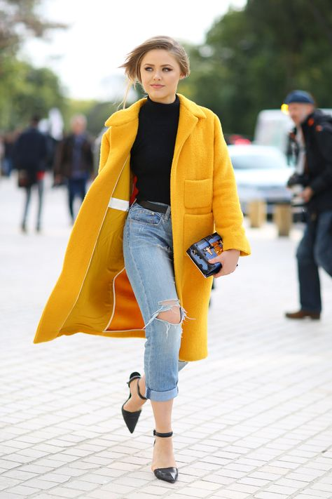 Ideas for how to wear yellow coat fashion