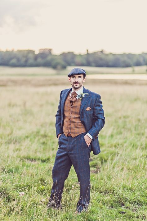 Mad Hatters tea party style wedding, Groom in tweed, flat cap, photography by Claire Penn