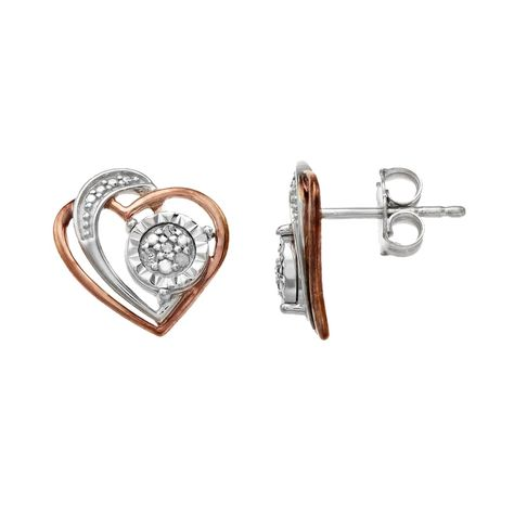 Get a look you'll love with these diamond-accent heart-shaped earrings. Length: 11.1 mm Backings: post Base material: sterling silver Plating: rhodium Finish: polished, 18k rose gold Packaging: boxed DIAMOND DETAILS Total weight: less than 1/10 ct. Color: white Color grade: J Clarity: I3 Shape: round Setting: prong Diamond weights are approximate. Diamond total weights may vary between .01 and .08 ct. Some diamonds have fewer than 17 facets. Gemstones may have been treated to enhance their appea