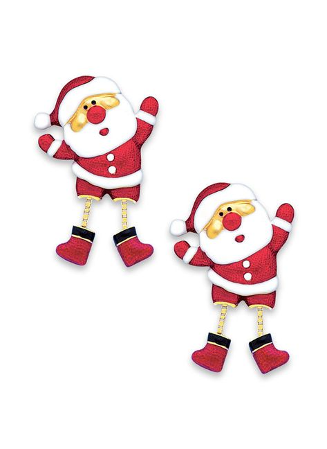 Dancing Santa Earrings at http://www.AmeriMark.com. Cute Santa earrings feature legs that move back and forth. #amermark #santaearrings