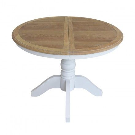 French Provincial Classic White Extendable Round Dining Table With