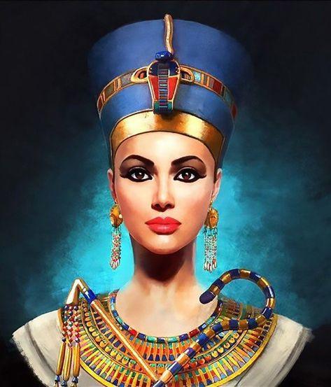Nefertiti The Beautiful Queen - Egyptian Art - Handmade Oil Painting On Canvas