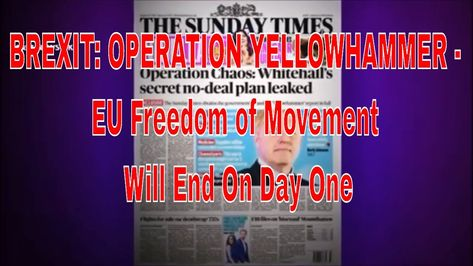BREXIT: OPERATION YELLOWHAMMER - EU Freedom of Movement Will End On Day One #brexit