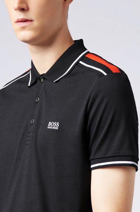 e2a91f2811ebb Slim-fit polo shirt in luxury cotton with colourblocking, Black ...