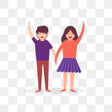 Couple Holding Hands Lovers Holding Hands Couple Cheering Hands Up Couple In Carnival Happy Couple Couple Holding Hands Lovers Holding Hands Png And Vector W Couple Holding Hands Happy Couple Couple