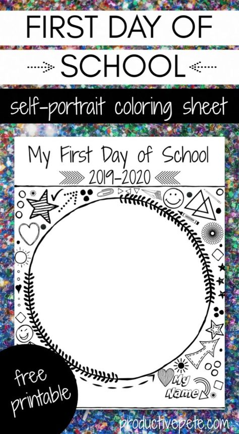 First Day of School Self Portrait Printable