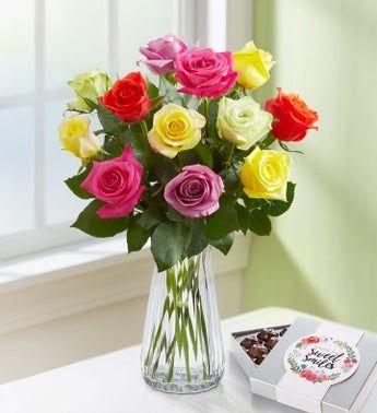 One Dozen Assorted Roses In 2021 Flowers Flower Arrangements 800 Flowers