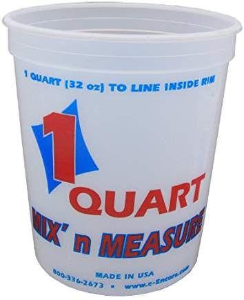Encore Plastics 41032 Mix N Measure Plastic Container 1 Quart Measuring Containers Container Metric Measurements