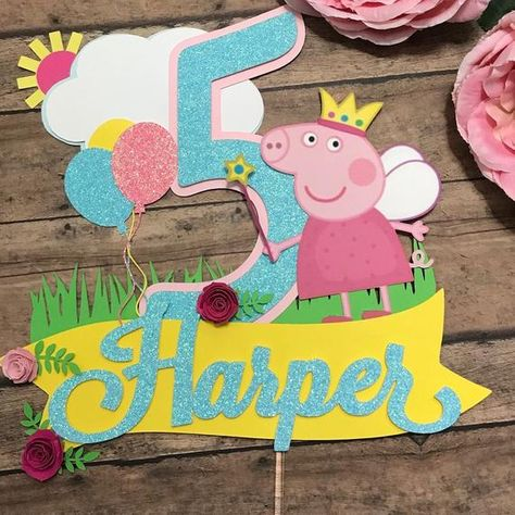 Peppa pig cake topper, Peppa pig paper cake topper, Peppa pig party, Peppa pig theme, customized cak