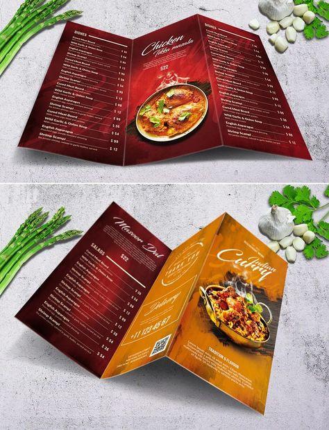Indian Trifold Food Menu Template PSD