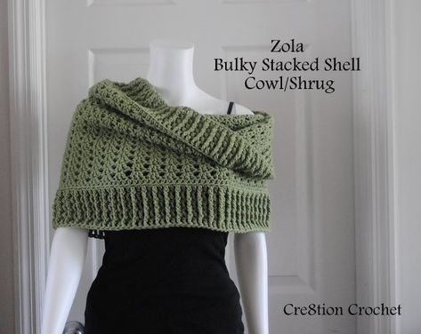 Free crochet pattern for bulky stacked shell cowl shrug.  It can be worn as a regular cowl, a hooded cowl or even as a shrug.