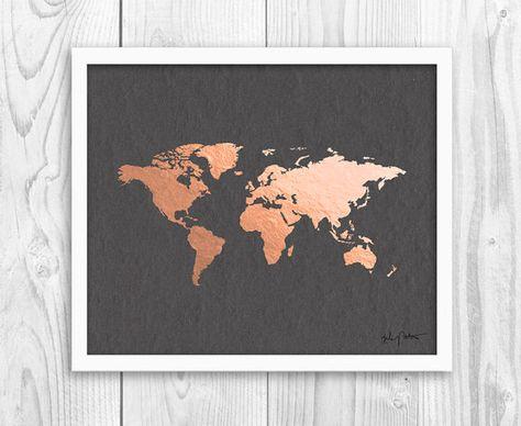 Kupfer und vergoldet Weltkarte von grau 6 von InkandHope auf Etsy
