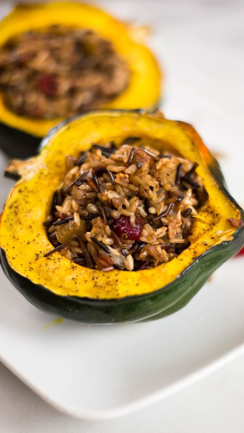 Hearty and festive, these stuffed acorn squashes are the perfect fall dish.