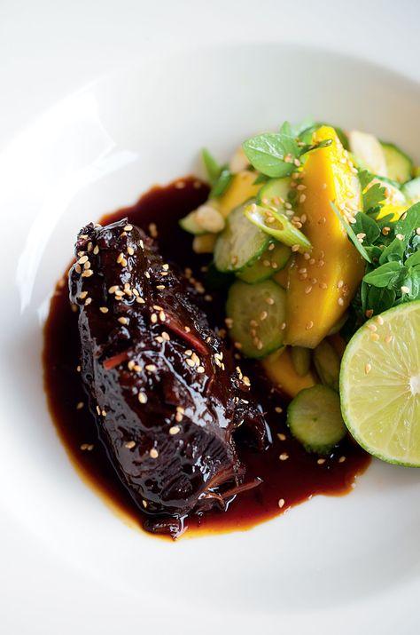 Sweet Soy Braised Beef Cheeks with Mango Salad