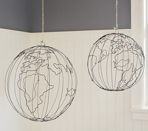 My youngest would LOVE these 'Wire Hanging Globes'  @Pottery Barn Kids for his map-themed bedroom!