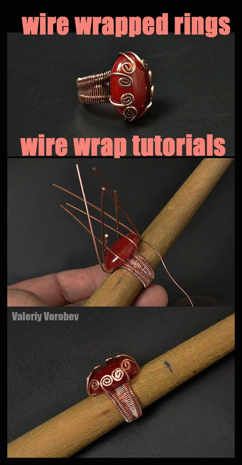 Wire Wrapped Rings are always popular and fun to make. You can wear them or give them as gifts. In this tutorial I'm going to show you how to make a Wire Wrapped Ring with cabochon. Diy Wire Jewelry Rings, Wire Jewelry Earrings, Handmade Wire Jewelry, Wire Jewelry Designs, Wire Jewelry Making, Diy Rings, Jewelry Making Tutorials, Wire Bracelets, Cheap Jewelry