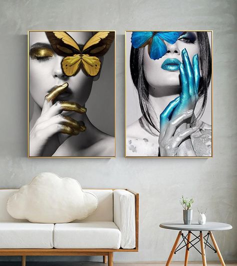 Modern Portraits Abstract Butterfly Fashion Wall Art Nordic Style Fine Art Canvas Print – LifeWallDecor.com