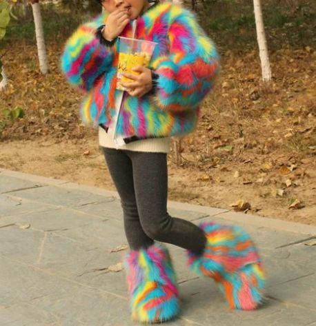 Mixed Colorful Blue Faux Kids Coat And Boots Set