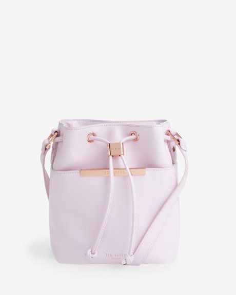 Crosshatch leather mini bucket bag - Pale Pink | Bags | Ted Baker UK