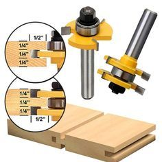 2pcs Wood Milling Cutter Tongue Groove Router Bit 3 4 Stock 1 4 Shank Us 8 98 Router Bits Router Woodworking Project Design