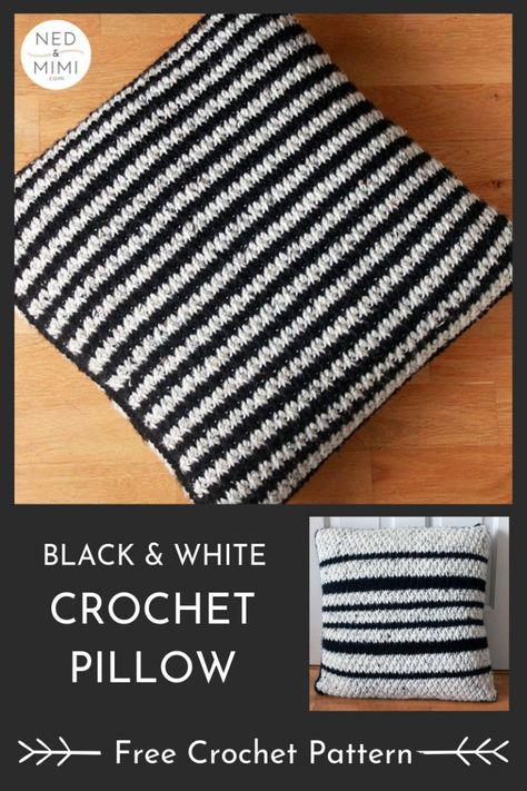 This is so stylish! A black and white pillow would match any decor. Free crochet pattern by Ned & Mimi #crochet #crochetpillow #crochetcushion #blackandwhite #crochetmonochrome #alpinestitch #freecrochetpattern