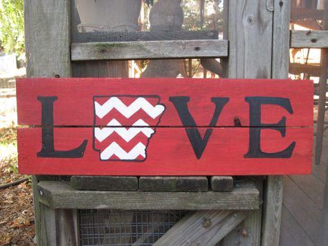 Love/Arkansas Chevron Hand Painted Wood Sign