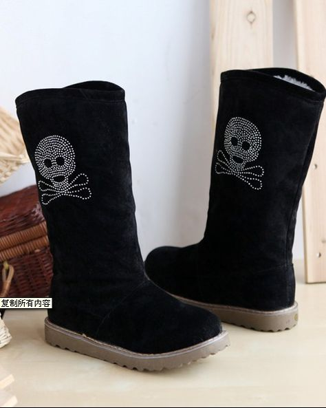 Warm Skeleton Picture Boots Black