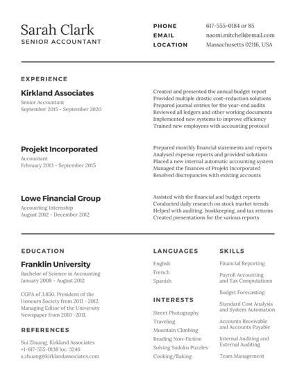 Traditional Accountant Resume