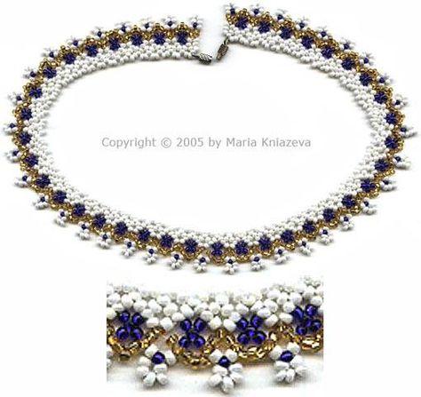 Free Cobalt Porcelain Necklace Beading Pattern at Sova-Enterprises.com