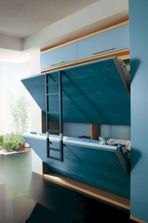 The Collection of 1600 Woodworking Plans - Murphy Bunk Bed Plans - WoodWorking Projects Plans Get A Lifetime Of Project Ideas and Inspiration! Bunk Beds Small Room, Modern Bunk Beds, Modern Murphy Beds, Cool Bunk Beds, Bunk Beds With Stairs, Kids Bunk Beds, Kids Beds Diy, Bunk Bed Ideas For Small Rooms, Cool Beds For Kids