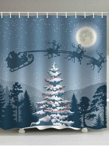 Christmas Night Tree Print Waterproof Bathroom Shower Curtain