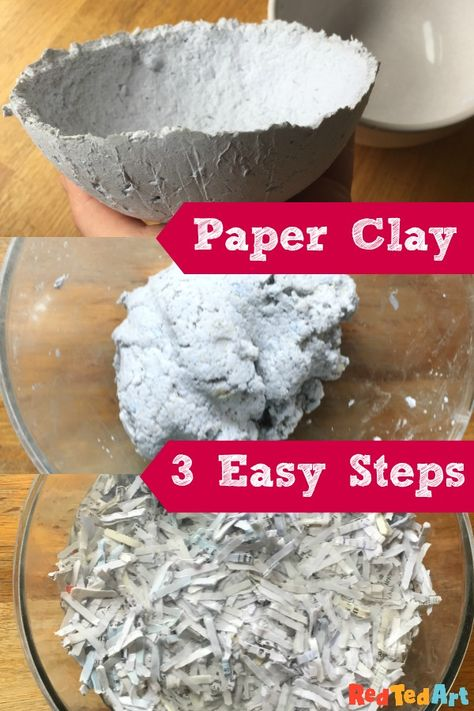 DIY Paper Clay Recipe - Red Ted Art On Red Ted Art we love to upcycle. Turn shredded paper into paper clay for moulding and shaping into anything you won't. We particularly love making easy paper clay bowls. Then paint them for summer. Clay Projects, Clay Crafts, Projects For Kids, Kids Crafts, Paper Mache Crafts For Kids, Teen Girl Crafts, Paper Mache Projects, Cool Paper Crafts, Sculpture Projects