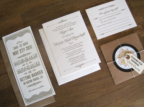 Art Deco Letterpress Wedding Invitations