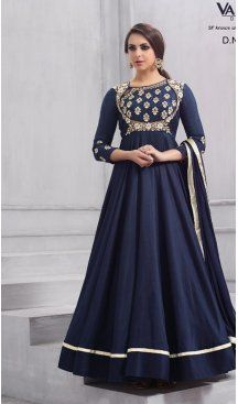 9c78f91f328 Blue Color Taffeta Silk Party Wear Readymade Gown | BE-NVO6-152 #heenastyle  #gown #readymade #silk #beige #partywear #womenswear #indiangown #eid2018 #  ...