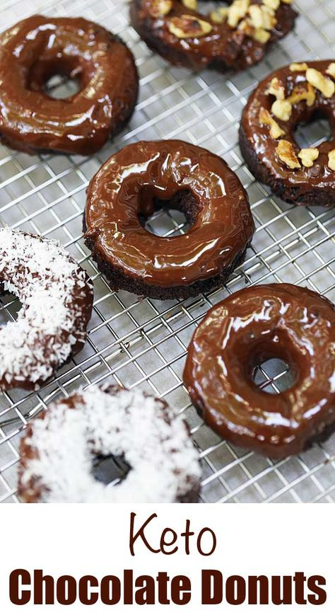 Amazing keto chocolate donuts that taste almost like real cake donuts. The moist, delicate crumb and the luscious chocolate glaze are wonderful! Chocolate Donuts, Chocolate Flavors, Chocolate Recipes, Chocolate Glaze, Donut Recipes, Gourmet Recipes, Low Carb Recipes, Dessert Recipes, Healthy Recipes