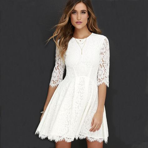 Romance and whimsy will always accompany you and the Love Letter Ivory Lace Dress! Eyelash lace dress has three-quarter sleeves, and pleated skater skirt.