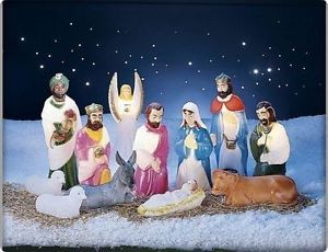 Outdoor Nativity Set Very Similar To The Set I Remember As A Kid That We Had In Pompano Decorating With Christmas Lights Outdoor Nativity Scene Christmas Nativity Set